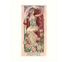 Veiled Lady of January with Pink Carnations and Snowdrop Birth Flower Corset Mucha Inspired Birthstone Series Art Print