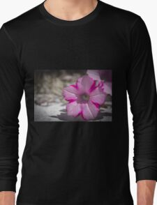 White and Pink Flower Long Sleeve T-Shirt