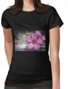 White and Pink Flower Womens Fitted T-Shirt