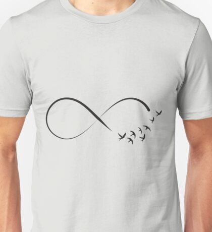 Freedom infinity symbol with swallows Unisex T-Shirt