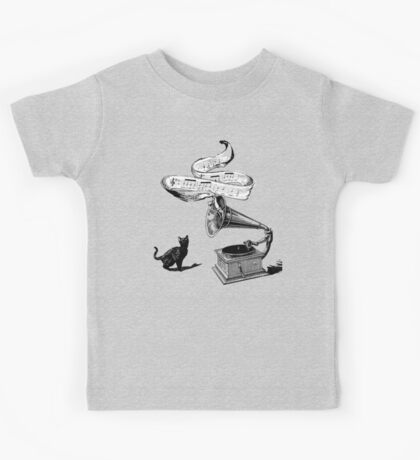 The Cat and the Song (Black and White) Kids Tee