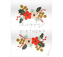 Floral Happy Birthday Poster