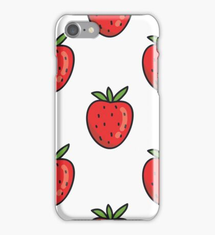 strawberry doodle pattern iPhone Case/Skin
