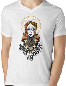 QHRIST HAS RISEN Mens V-Neck T-Shirt