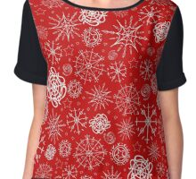 Snowflakes on red background Chiffon Top