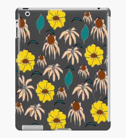 Vintage country floral black yellow pattern    iPad Case/Skin
