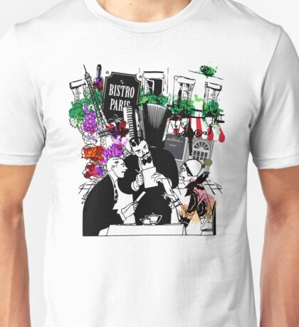 Beautiful French Couple In A Romantic Paris Restaurant  Unisex T-Shirt