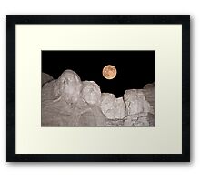Blue moon over Mount Rushmore National Memorial Framed Print