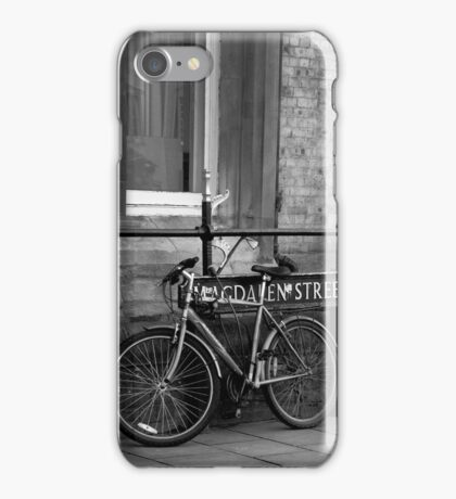 A bike on Magdalen Street, Oxford, England iPhone Case/Skin