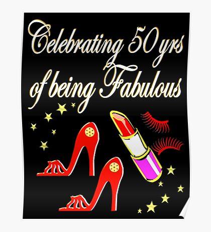 50TH BIRTHDAY RED HIGH HEEL DESIGN Poster