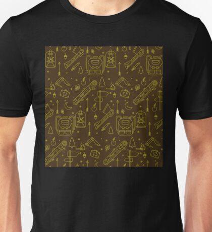 Camping Seamless Pattern. Unisex T-Shirt