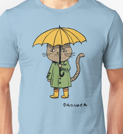 Cat with a yellow umbrella Unisex T-Shirt