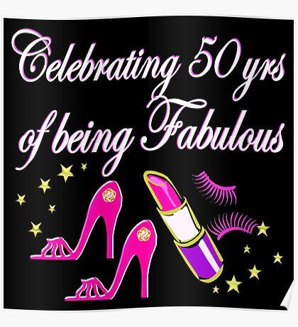 STYLISH PINK 50TH BIRTHDAY DIVA DESIGN Poster