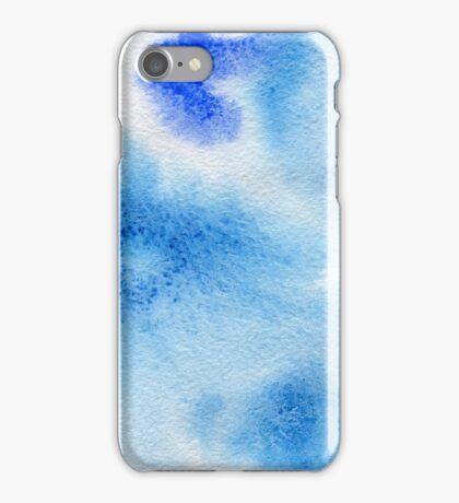 Watercolor texture transparent marble spots blue color. iPhone Case/Skin