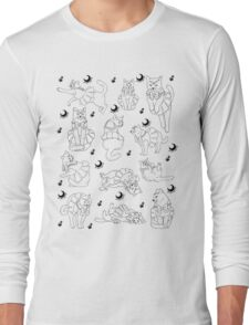 Sailor Cat in White Pattern Long Sleeve T-Shirt