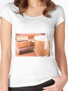 Glass mug with hot chocolate and biscuits in a wooden tray Women's Fitted Scoop T-Shirt