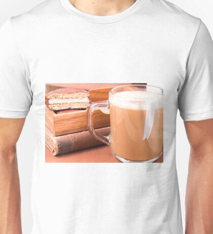 Glass mug with hot chocolate and biscuits in a wooden tray Unisex T-Shirt