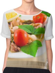 Salad of blanched pieces of seafood on a white plate close-up Chiffon Top
