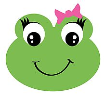 Cute Frog With Pink Bow Photographic Print
