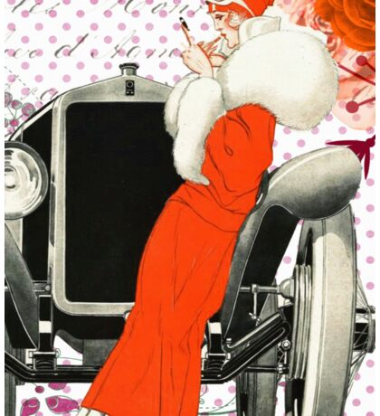 Vintage illustration of flapper girl and oldtimer car Sticker