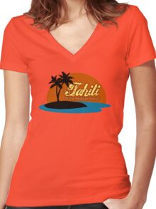 Tahiti Women's Fitted V-Neck T-Shirt