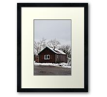 Cabin at Glencoe Mountain Range Framed Print