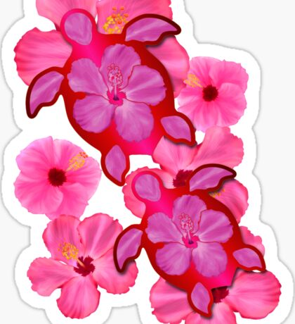 Pink Hibiscus And Honu Turtles Sticker