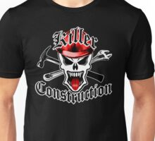 Construction Skull 2 with Crossed Tools Red Unisex T-Shirt