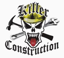 Construction Skull 2 with Crossed Tools Yellow Kids Clothes