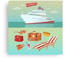 Sea Holidays Concept with Cruise Ship and Summertime Elements Canvas Print