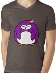 Purple Flower Penguin Mens V-Neck T-Shirt