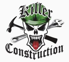 Construction Skull 2 with Crossed Tools Green Kids Tee