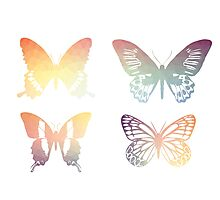 Butterflies, colorful geometric, pastel Photographic Print