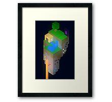 Minimalistic Minecraft Floating Island Framed Print