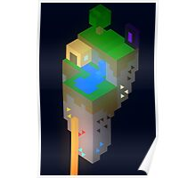 Minimalistic Minecraft Floating Island Poster