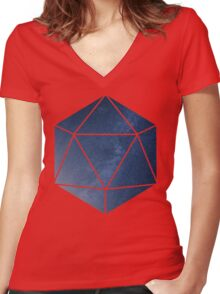 D20 - Blue Space Women's Fitted V-Neck T-Shirt