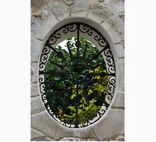 A Lush Garden Framed in a Fence Window Unisex T-Shirt