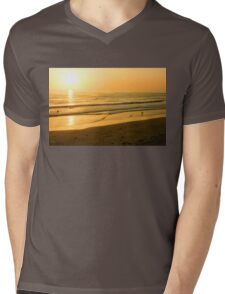 Glossy Gold and Surfers - Sunset on the Beach in California  Mens V-Neck T-Shirt
