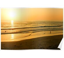 Glossy Gold and Surfers - Sunset on the Beach in California  Poster