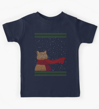 Tabby loves Snow (Knitted-version) Kids Tee