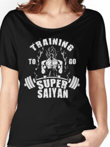 Training To Go Super Saiyan - Goku Barbell Women's Relaxed Fit T-Shirt