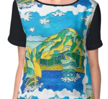 SAILING BOATS OCEAN MOUNTAIN, SAILING'S A BREEZE FUNNY QUOTE Chiffon Top