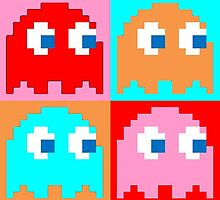 Pacman Ghosts Pop Art by justcastWAUDBY