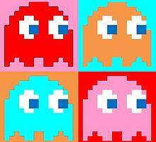 Pacman Ghosts Pop Art by Adam Waudby
