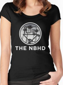 The Neighbourhood Palm Tree Print The NBHD Band Shirt White Women's Fitted Scoop T-Shirt
