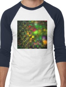Orange Green Cubes Men's Baseball ¾ T-Shirt