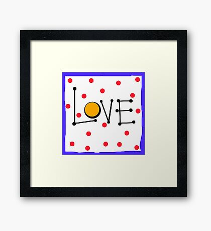 Love on White with Red Polka Dots Framed Print