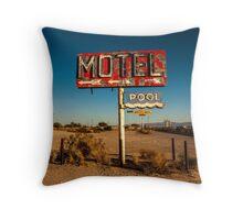 Abandoned Desert Motel Sign Throw Pillow