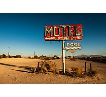Abandoned Desert Motel Sign Photographic Print