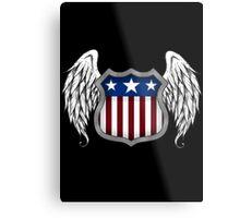 Winged American Shield (Black) Metal Print